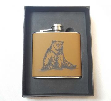 Leather Bound Flask - Bear Design